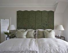 SallyL: Marco Meneguzzi - Green chinoiserie screen turned headboard, white sheets and pale green ...