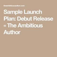 Sample Launch Plan: Debut Release « The Ambitious Author