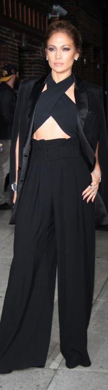 Jennifer Lopez: Shirt – Milly  Jacket – Noon By Noor  Pants – Paule Ka  Ring – Norman Silverman  Shoes – Giuseppe Zanotti