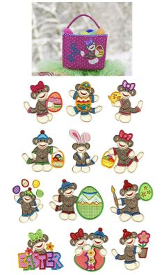 Embroidery | Machine Applique Embroidery Designs | Easter Sock Monkeys Applique