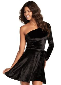 Kalani Hilliker for Alyce KR102 One Sleeve Velvet Dress