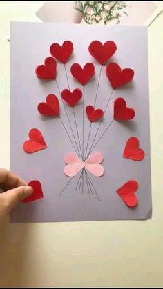 Valentines Day Cards Handmade, Handmade Birthday Cards, Valentine Crafts, Easy Handmade Cards, Birthday Crafts, Diy Crafts For Gifts, Valentine's Day Diy, Card Decoration Ideas, Card Ideas