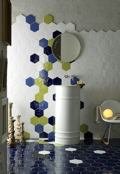 Interesting tile pattern--downstairs bath but in b/w and gold?