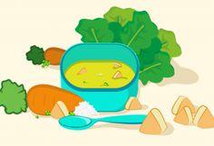 Papinha de frango, arroz, ervilha, cenoura e espinafre