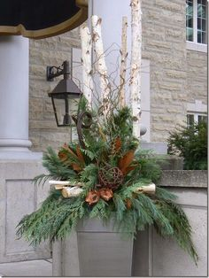 Decorating With Urns {Christmas Edition} Outdoor Christmas Porch Decorations Gardening : Christmas Urn Christmas Urns, Outdoor Christmas Decorations, Country Christmas, Winter Christmas, Christmas Home, Christmas Wreaths, Christmas Ornament, Primitive Christmas, French Christmas Decor