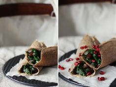 Rosemary & Walnut Flour Crepes with Wilted Greens, Apples &Squash - Roost - Roost: