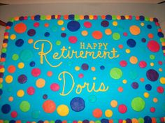 M2M polka dot retirement cake - Made to match the plates for a retirement party; they wanted the dots to match the stripes. 1/2 chocolate & 1/2 french vanilla..filled with Italian cream. Iced in only buttercream.