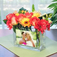 Personalized Glass Photo Vase -I like this for my bridesmaids - Click image to find more Wedding & Events Pinterest pins