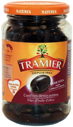 Les olives noires confites dénoyautées en bocal de 150g - Tramier