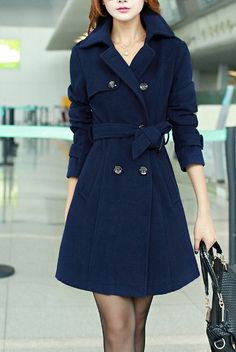 British Style Women Long Double-breasted Dress Coat Long Jacket Fashion Women Winter Long Coat Blue Red Camel Black HM082
