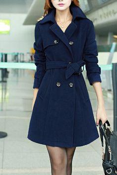 British Style Women Long Double-breasted Dress Coat Long Jacket Fashion Women Winter Long Coat Blue Red Camel Black  HM082