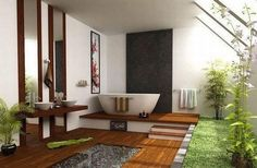 The top Feng Shui bathroom fixes in your bathroom involve drains and the water element. Water in Feng Shui represents wealth, hence, water loss means wealth or financial loss. Asian Bathroom, Japanese Bathroom, Tropical Bathroom, Garden Bathroom, Natural Bathroom, Relaxing Bathroom, Open Bathroom, Bathroom Green, Earthy Bathroom