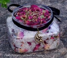 FAERY NECTAR Luxury Coarse Grain Dead Sea salt. Herb charged with pink rosebuds, red rose petals and heather buds, FAERY NECTAR will bewitch you with its playful aromatic blend of several soft florals, Musk, Sugared Vanilla, Honey and more!  Use FAERY NECTAR Bath Salts to connect with your inner Goddess or for ritual bathing prior to working with the Fae, celebrating Ostara or spell work.
