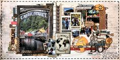 Double-page layout by Glenda Viljoen with the GO SEE DO collection and Distress Oxide Inks.