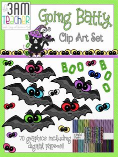 70 FUN commercial use graphics set by The 3AM Teacher!! Includes bats, digital papers, spooky eyes and more for $6.00