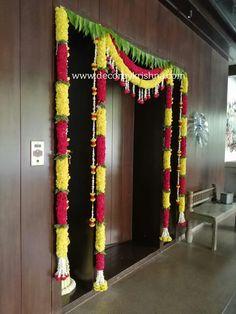 Flower Garland Wedding, Flower Garlands, Housewarming Decorations, Diy Wedding Decorations, Cradle Decoration, Flower Rangoli, Roxy, House Warming, Backdrops