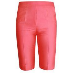 GIAMBATTISTA VALLI $680 pink silk cotton high waist slim fitted dress shorts 38 #GiambattistaValli #DressShorts #highwaist #coralpink #silkshorts