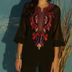 Black Fancy Embroidered Top