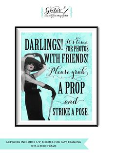 Photo booth sign, printable Audrey Hepburn party signs, grab a prop and strike a…