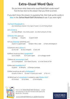 Extra-Usual Word Quiz -download our phizz-whizzing Oxford Roald Dahl Dictionary activity sheets now! #RoaldDahlDay #DahlDictionary Dictionary Activities, Roald Dahl Day, Activity Sheets, Do You Know What, Looking Up, Oxford, Education, Words, Free