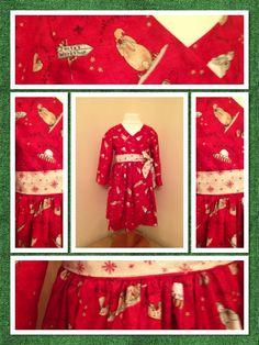Christmas Wrap Dress Sleeved    Beautiful full sleeve wrap dress, shown in red 'Santa's Coming' fabric.    Find me on facebook.... www.facebook.com/honeybeesboutiqueUK