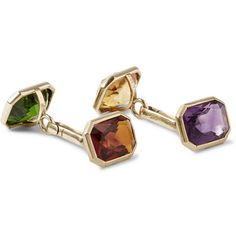 Foundwell Vintage 14-Karat Gold Amethyst, Citrine, Garnet and Tourmaline Cufflinks | MR PORTER