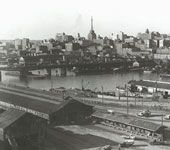 Railyards at Darling Harbour panorama, 1946. Helen