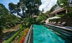 Villa Mawar in Tabanan, Bali Located in the village of Cepaka, Villa Mawar is a luxury private villa featuring 6 master bedroom suites and accommodation for 12 guests. The Villa has a staff of 10 including private chefs, nanny and… 50 States, Pool Landscaping, Landscape Architecture, New England, Trip Advisor, Bali, Mansions, Outdoor Decor, Magical Gardens