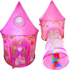 Playz 2pc Girls Princess Fairy Tale Castle Play Tent & Crawl Tunnel w/ Pink Prairie Design - Foldable for Indoor & Outdoor Use w/ Zipper Storage Case. LOVE & LAUGHTER - Children fall in love with our premium dream tents for kids. With a mesh window, 1 mesh sunroof and crawl tunnel their fairytale experience will be transformed with a unique twist!. PRINCESS APPROVED - Soft fabric & breathable mesh design allows for a safe & environmental friendly playground for the kids. Playz® toys meet…