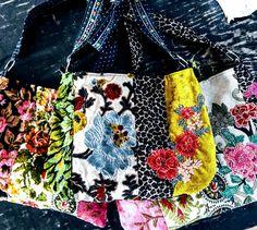 Velvet floral carpet bag with orange flower applique