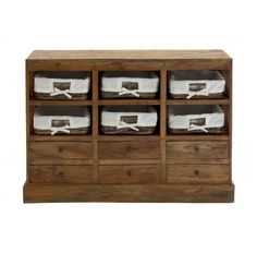 A perfect piece for a home entrance or living room, this old-fashioned hard wood cabinet is combined with six wicker baskets that make fantastic open-air drawer
