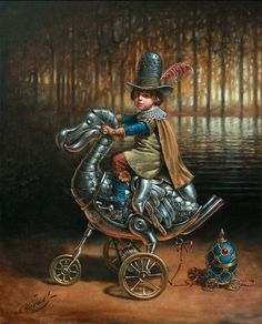 Michael Cheval, Dodocycle (oil on canvas)