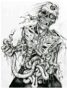 Draw Creatures 40 Insanely Cool Zombie Drawings and Sketches - Bored Art - Zombies are frightening dead creatures living for eating brain.Take your Zombie curiosity ahead, here are some Insanely Cool Zombie Drawings and Sketches. Arte Zombie, Zombie Art, Arte Horror, Horror Art, Tattoo Crane, Zombie Drawings, Marvel Drawings, Zombie Tattoos, Arte Black