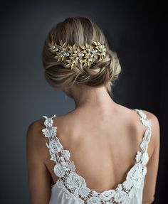 Gold Boho Hair Vine Laurel Leaves Bridal Large by LottieDaDesigns