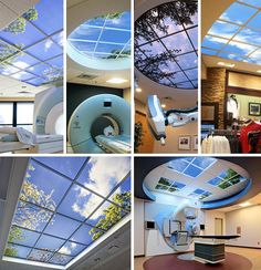 Faux-ceiling scenes and fake-landscape windows (both static and animated) from The Sky Factory. Sky Ceiling, Ceiling Design, Led Light Design, Lighting Design, Faux Window, Fake Window Light, Plafond Design, Hospital Design, Healthcare Design