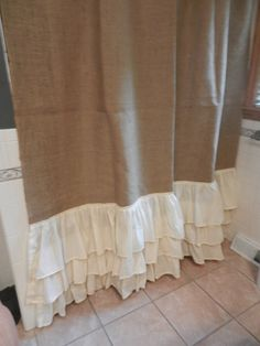 Burlap and muslin ruffled shower curtain. Measures Has 3 12 muslin ruffles. If you need a different length let us know. No extra charge up to