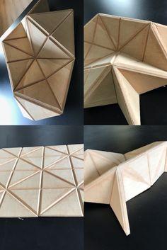 Essais d'origamis en bois dans notre atelier...