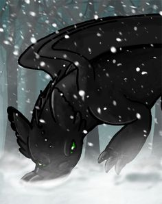 Toothless loves the snow by Moose15 on deviantART