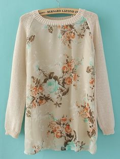 DIY: Thrift a sweater; cut out piece; add floral fabric in its place