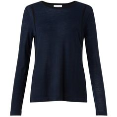 Jigsaw Contrast Contour Jumper , Navy ($140) ❤ liked on Polyvore featuring tops, sweaters, navy, long sleeve jumper, jumpers sweaters, long sleeve tops, navy jumper and blue jumper