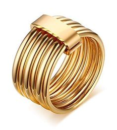 Fashion Stainless Steel 6 Plain Bands Interlocked Stacked Wide Statement Cocktail Ring for Women
