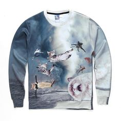 Cats Flying Over Water Sweatshirt
