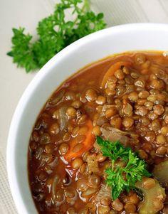 lentil soup - bacon, onion, lentils, carrots, celery, basil, tbsp sherry, parsley.(broth)