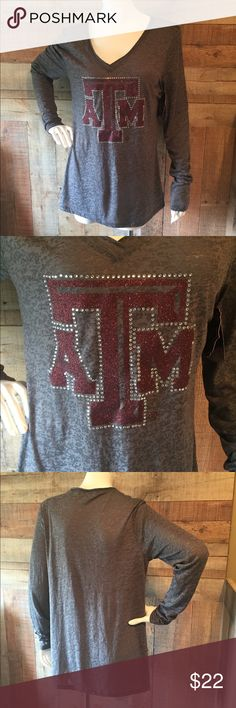 "TEXAS A&M Burnout Tee NWT Gameday Couture long sleeve gray burnout tee.  Texas A & M.  Size large, 18"" wide x 28"" long.  Never worn, tags attached!! Gameday Couture Tops Tees - Long Sleeve"