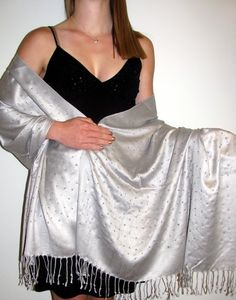 Silver Shawl With Sparkles Divine - women love this shawl for any evening dress or gown for any special occasion or event as it is classy elegance.