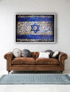 Flag of Israel. Hand painted wall Art.