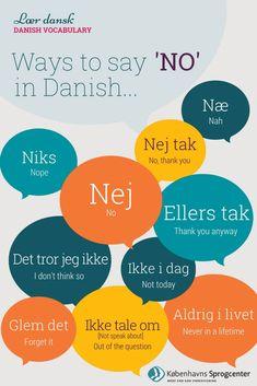 Yes and No in Danish Speak Danish, Danish Words, Danish Language Learning, Ways To Say Said, Learn Swedish, Copenhagen Travel, Danish Christmas, Languages Online, Words To Use
