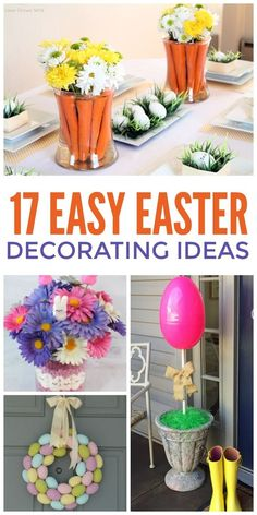 Want to decorate for Easter but aren't very crafty or swimming in time? We're in the same boat. But if you have plastic eggs, stuffed bunnies and chicks or even carrots, you can do any of these decoration ideas From wreaths to centerpieces, these diys are both easy and cute!