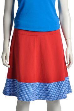 Klokkende rode rok katoenen tricot met een vintage polyester stof, Pop Rok