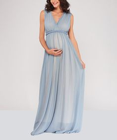 977aa57181 Take a look at this Blue Maternity Empire-Waist Dress today!